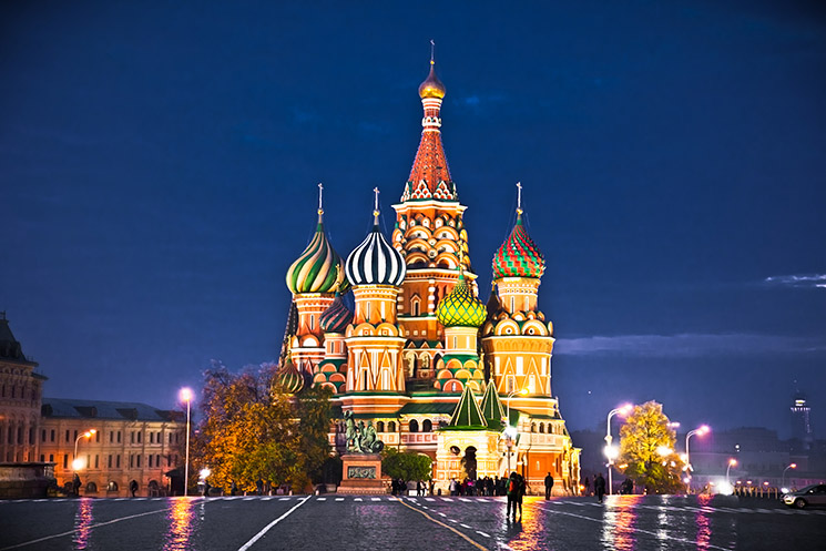 Night view of Red Square and Saint Basil and Cathedral in Moscow., Russia.