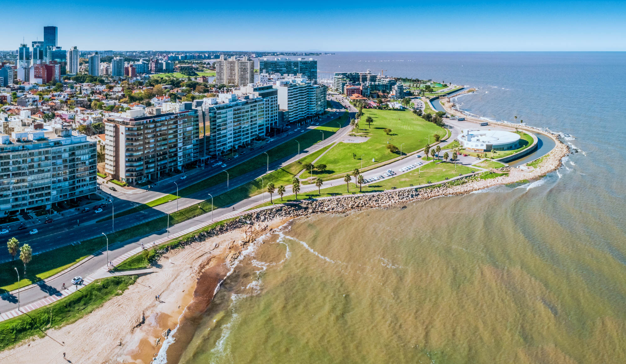 Aerial view, high angle view of Montevideo's coastline, Pocitos neighbourhood. Image taken outdoors, daylight.