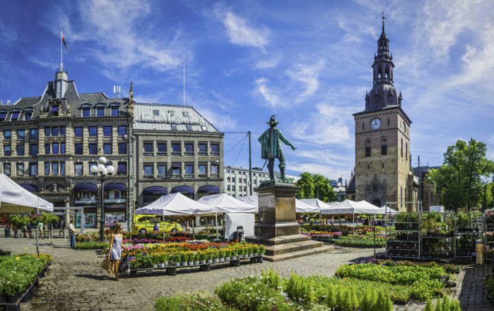 Oslo, Norway - July 12, 2014: Woman walking between market stalls selling green plants and colourful flowers in Stortorvet, the Grand Plaza in the hear of downtown Oslo, Norway. Composite panoramic image created from six contemporaneous sequential photographs.